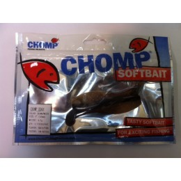 "CHOMP EDGE SOFTBAIT, BROWN/WHITE, 4"" (100mm), 9.1 GRAMS, 2P/BAG TRIAL PACK, WITH SLOT"