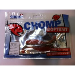 "CHOMP EDGE SOFTBAIT, GREEN/ORANGE, 4"" (100mm), 9.1 GRAMS, 2P/BAG TRIAL PACK, WITH SLOT"