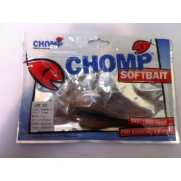 "CHOMP SHAD SOFTBAIT, BROWN/WHITE, 4"" (100mm), 9.1 GRAMS, 2P/BAG TRIAL PACK"