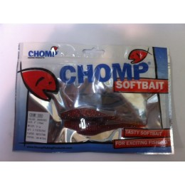 "CHOMP SHAD SOFTBAIT, GREEN/RED, 4"" (100MM), 9.1 GRAMS, 2 P/BAG, TRIAL PACK"