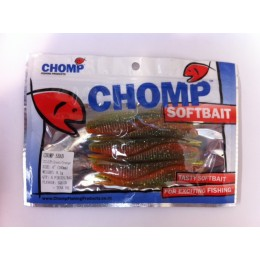 "CHOMP SHAD SOFTBAIT, GREEN/ORANGE, 4"", (100mm), 9.1 GRAMS, 6P/BAG"